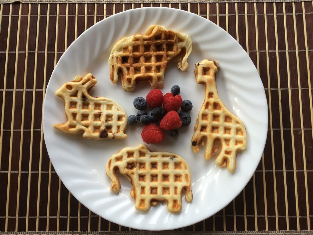 Banana Chocolate Chip Waffles - animal shapes