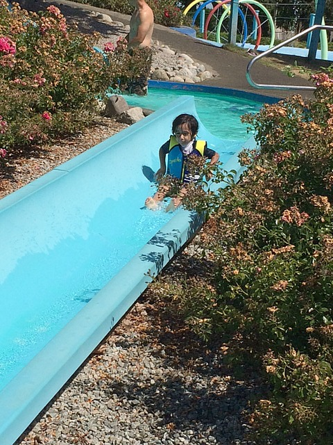 Keyan on waterslides alone