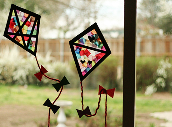 Spring Crafts and activities - stained glass kites