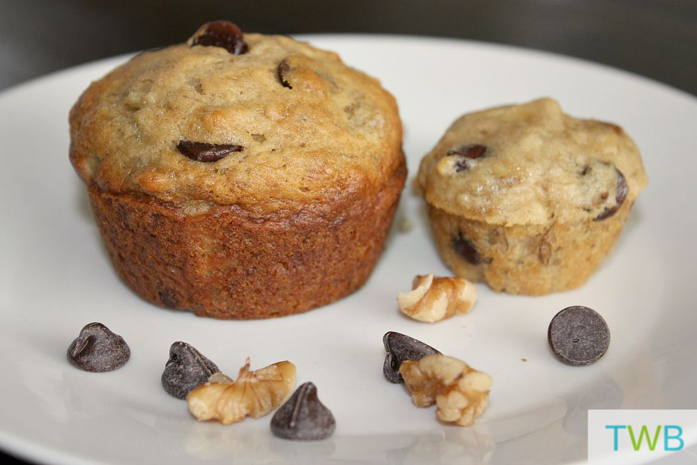 10 Snack Ideas for School Lunches- Banana Chocolate Chip Muffins