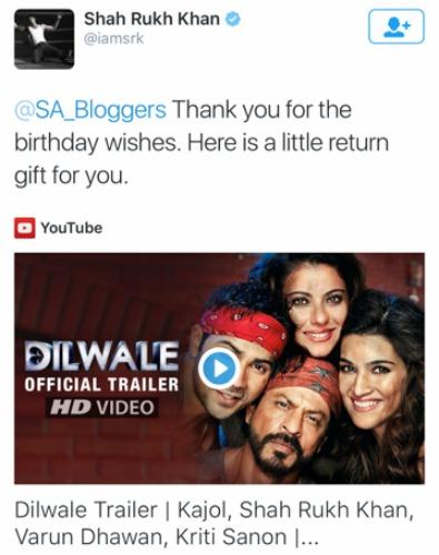 Shah Rukh Khan Tweet