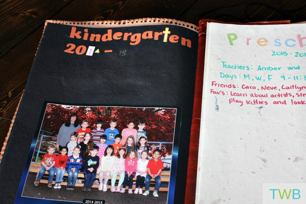 scrapbook with school class photo