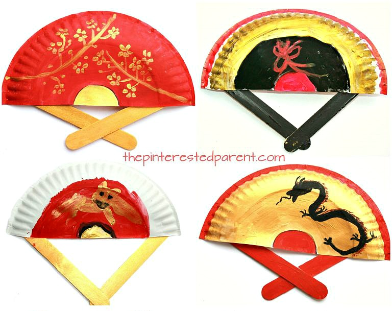 Chinese New Year Crafts - hand painted fans