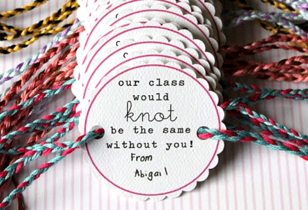Valentine's Day Cards for School -friendship bracelets