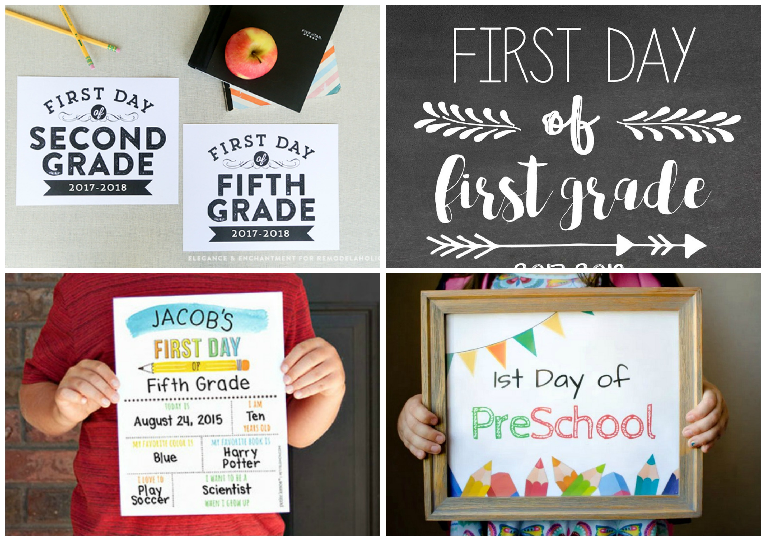 image relating to First Day of School Printable named 5 Initially Working day of College Printable Signal Designs - The Publish Harmony